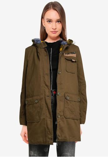 Desigual green Military Fur Collar Parka Jacket 490D8AAFB9168CGS_1