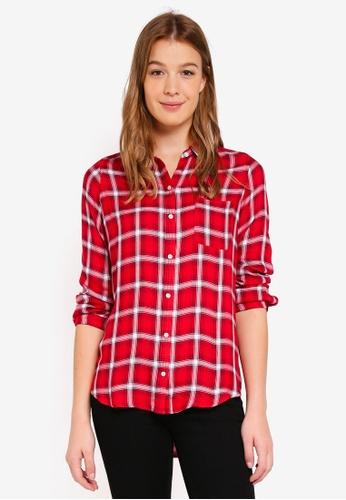 Hollister red Plaid Shirt 34011AA3CC12BFGS_1