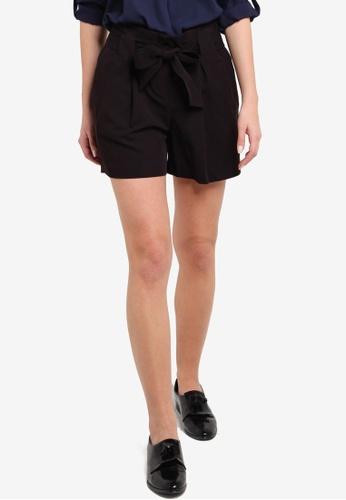 Dorothy Perkins black Black Topstitch Tie Shorts DO816AA36VLNMY_1