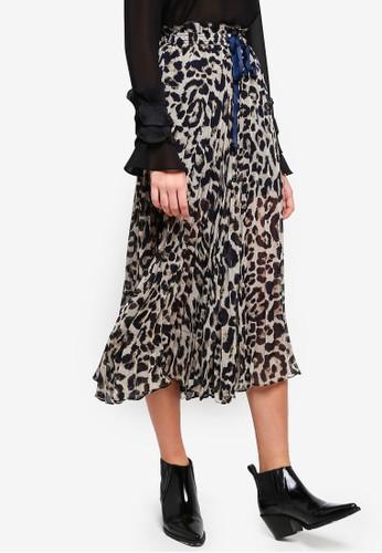 bYSI brown Leopard Print Pleated Pants C07B8AAAA0FF34GS_1
