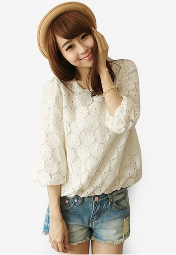 Tokichoi white Puff Sleeves Lace Blouse D6F64AABA94BAAGS_1