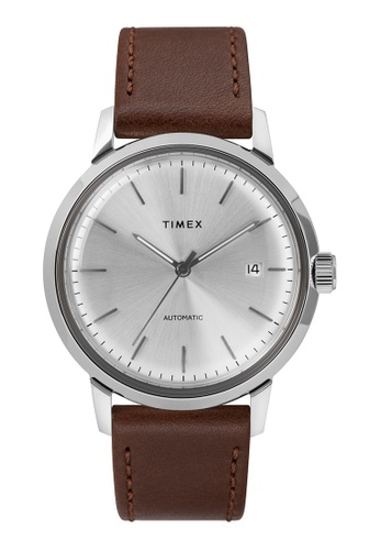 Timex brown and silver Timex Marlin Automatic 40mm - Silver-Tone Case, Brown Strap (TW2T22700) B253BAC0A868DDGS_1