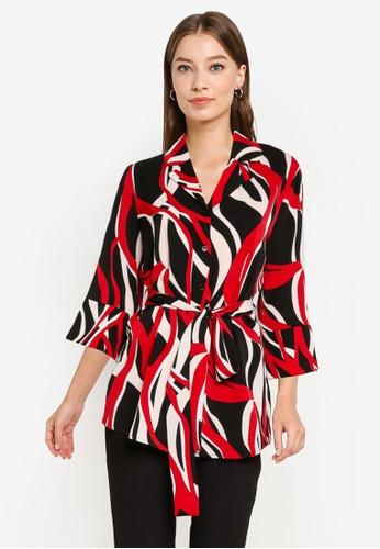 ZALORA WORK multi Wide Sleeves Self Tie Tunic 64468AAAEE35DAGS_1