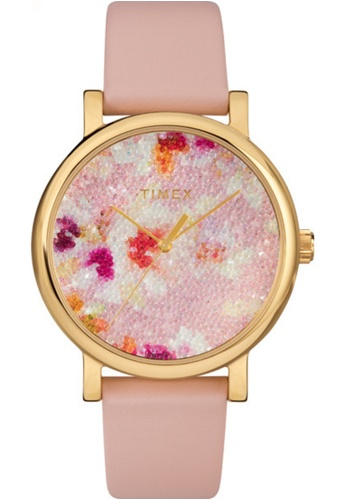 Timex pink and gold Timex Crystal Bloom 38mm - Gold-Tone Case, Pink Strap (TW2R66300) 1A1EAACCBAEA80GS_1
