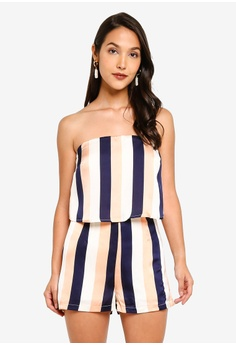 192ea4c064c3 MISSGUIDED multi Stripe Double Layer Playsuit 3828BAA8014BB3GS_1