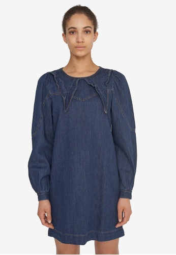 Noisy May navy Simone Denim Collar Dress EDDC7AAECFD76BGS_1