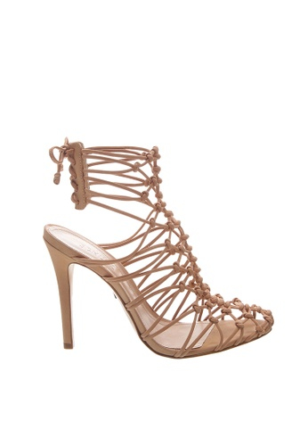 SCHUTZ beige Honey Beige Nubuck Netting Sandals - ADRIANA [HONEY BEIGE] F5797SH0D1C5F1GS_1