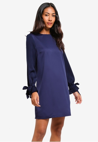 ZALORA BASICS navy Basic Woven Sleeves Shift Dress 831B3AA6D160C6GS_1