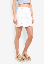 TOPSHOP white Moto White Lace Up A-Line Denim Skirt TO412AA0RMWXMY_1