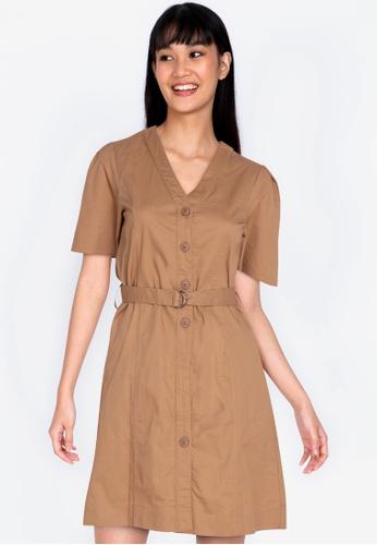 ZALORA BASICS brown Button Front Pleated Back Shirt Dress 67FEFAAF0F896DGS_1