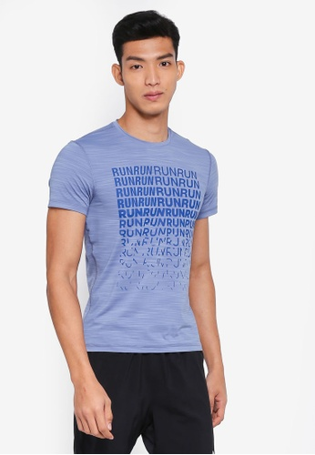 Reebok 藍色 慢跑印花T恤 DB1A6AAD000E4BGS_1