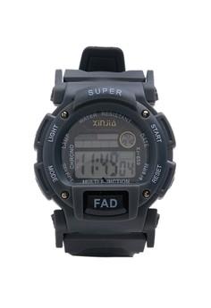 XINJIA FAD Water Resistant Sports Digital Gray Plastic Strap Watch 659