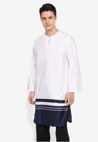 Rizalman for Zalora white Roshan Top Kurta Blocking RI909AA0SF0DMY_1