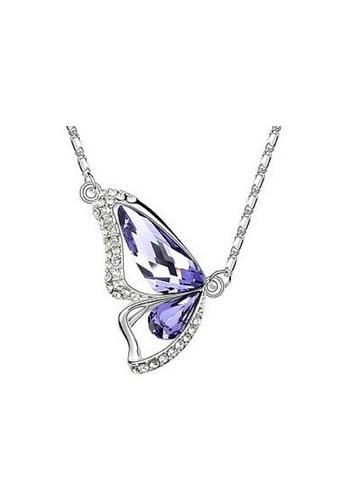 Vivere Rosse purple Butterfly Goddess Austrian Crystal Necklace - Amethyst VI014AC32EBVMY_1