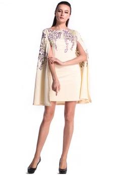 76094e0701ba DreamTales Wardrobe beige Floral Embroidered Details Cape Dress  87FECAAC9A2583GS_1