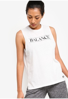 88d6475fc700 Under Armour white Balance Graphic Muscle Tank Top 92845AAE6F3E79GS_1