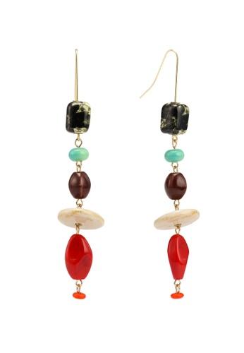 Mango 紅色 陶瓷珠飾垂墜耳環 D12F0ACB59C56DGS_1