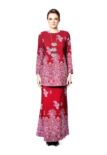 LARA NOUR red Baju Kurung Lace Printed 49326AA11AB5EAGS_1