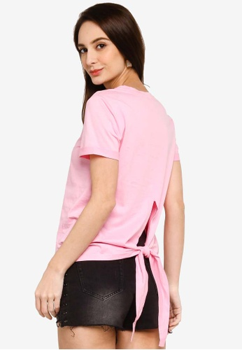 Hopeshow pink Short Sleeves Round Neck T-Shirt with Back Tie Knot 0A823AAB533FE9GS_1