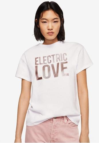 Mango white Metallic Message T-Shirt 1F156AA6D63438GS_1