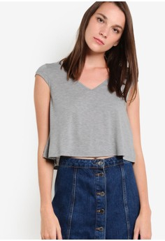 Image of Basic Cropped Tee With Cap Sleeve
