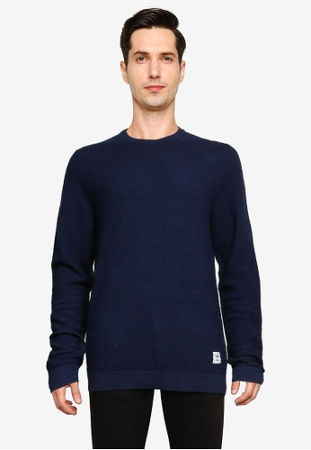 Only & Sons blue Nathan Life Structure Crew Neck Pullover AAAA2AADB16B95GS_1