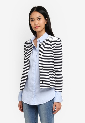 TOPSHOP multi and navy Stripe Crop Jersey Blazer 288E5AA6F752DFGS_1