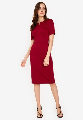 ZALORA WORK red Notch Neck Puff Sleeve Dress 9B2FAAA59A56A2GS_1