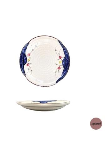 &glazed white and blue &Glazed Tokyo Gardens 8-Inch Medium Round Plate 6A17FHL2FDF832GS_1