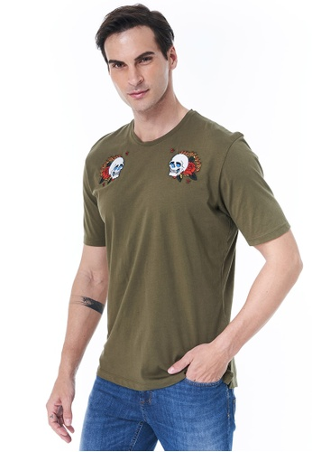Sisley green T-shirt with Embroidery 32FCAAA7C5ECA2GS_1