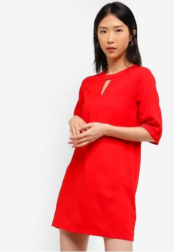 ZALORA BASICS red Basic 3/4 Sleeves Notch Neck Dress 5ED65AA21A455FGS_1