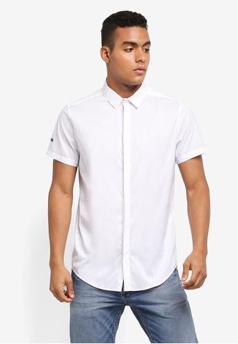 Superdry white PREMIUM COTTON DRESS S/S SHIRT AECF9AA8CE4162GS_1