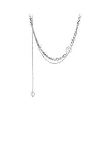 Glamorousky silver Elegant Temperament Geometric Bead 316L Stainless Steel Multilayer Necklace 806CAAC68D33DBGS_1