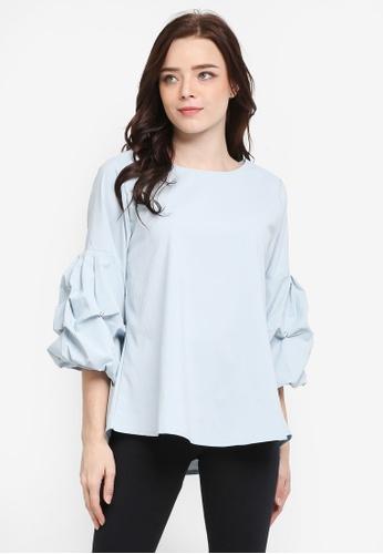 BYN blue 3/4 Sleeve Blouse FE609AA4697BBFGS_1