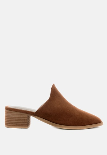 Rag & CO. brown Stacked Heel Suede Leather Mules A93A3SH57844A0GS_1