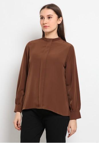 The Executive brown Band Collar Long Sleeve Blouse 453E9AA6CF149CGS_1