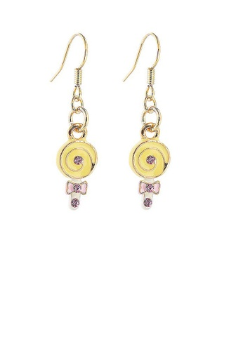 Glamorousky pink Glistering Yellow Lollypop Earrings with Pink CZ 6B2D2AC09B2231GS_1