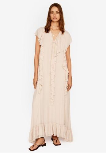 Mango pink Ruffles Flowy Dress F0CE7AA2B12CFCGS_1