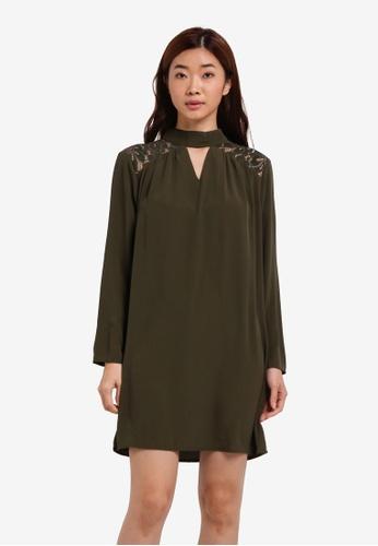 ZALORA green Long Sleeve Lace Yoke Detail Dress 35F0BZZ8E1EE04GS_1