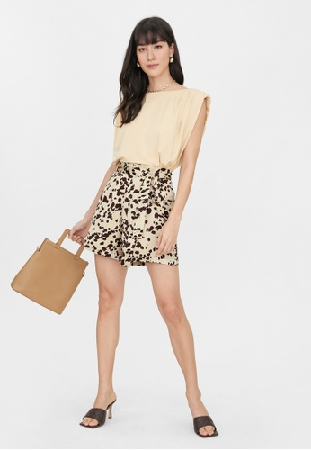 Pomelo brown Tied High Waist Speckled Shorts - Brown 4A19FAA6D70B94GS_1