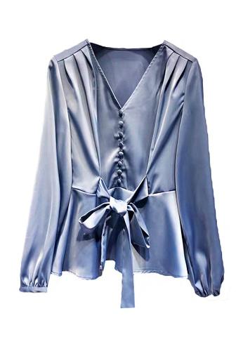 Twenty Eight Shoes blue VANSA  Tie Front Long Sleeves Blouse  VCW-Bs8302 A5DE7AAC51F3E9GS_1