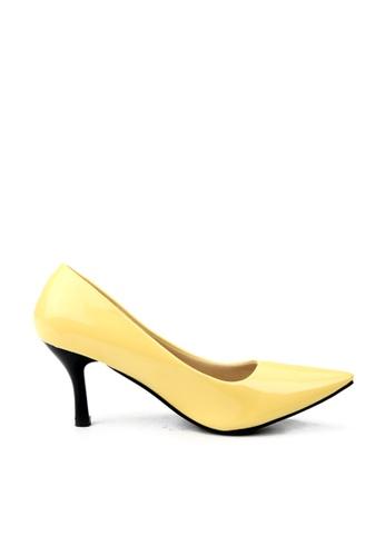 KissXXX 黃色 低反發舒適感美腿效果7CM小尖頭高跟鞋 KI603SH09MPLTW_1
