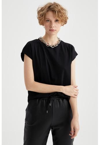 DeFacto black Short Sleeve Round Neck Cotton T-Shirt E98A0AA8314C75GS_1