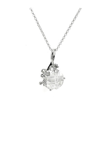 Glamorousky silver Glistering Circular Pendant with Flower and Silver CZ and Necklace 38CFEACFA195A0GS_1