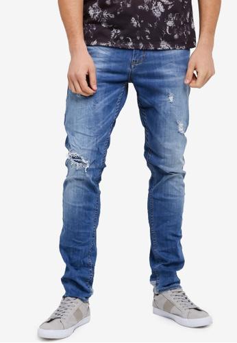 CR7 藍色 時尚修身刷破牛仔褲 CR532AA0SYI2MY_1