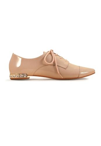 Gripz beige Vinz Round Toe Lace Up Patent Loafers 49545SHC94D131GS_1