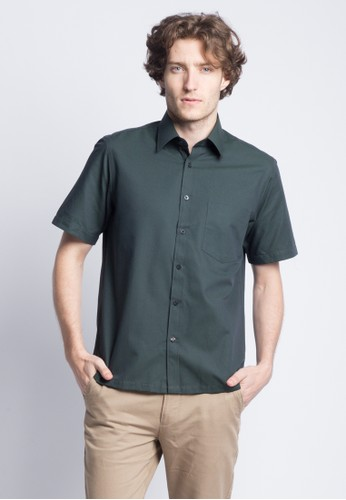 Van Heusen green VAN HEUSEN SHORT SLEEVES REGULAR FIT SHIRT 5822AAAC5F74A2GS_1