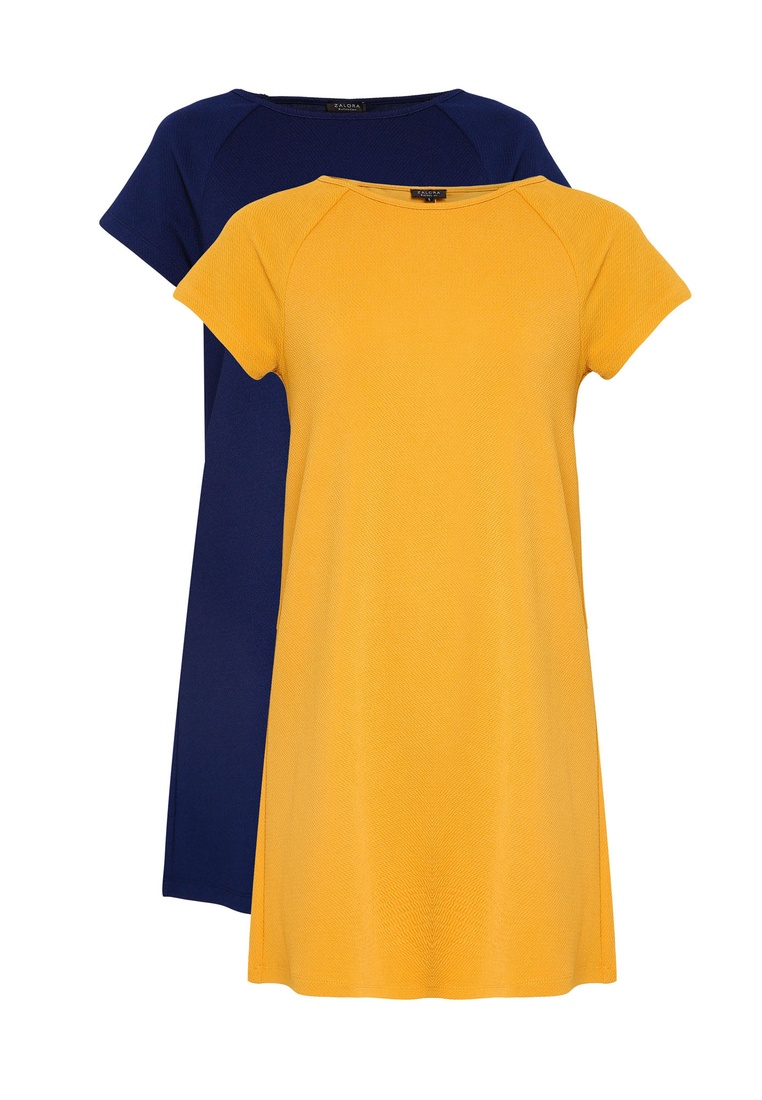 BASICS Sleeve 2 Mustard Essential ZALORA Navy Shift pack Raglan Dress T1FxCw0