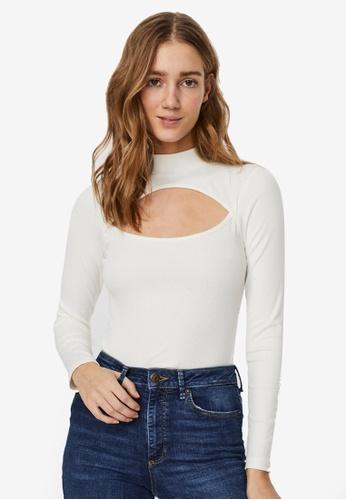 Vero Moda white Eva Rib Cutout Bodysuit DD988AAB6B34EAGS_1