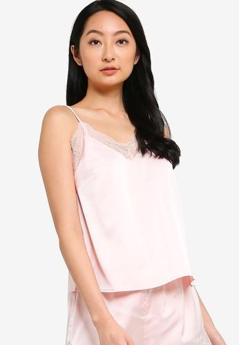 ZALORA BASICS 粉紅色 Lounge 蕾絲綢緞細肩帶上衣 B663BAAFF53C4CGS_1